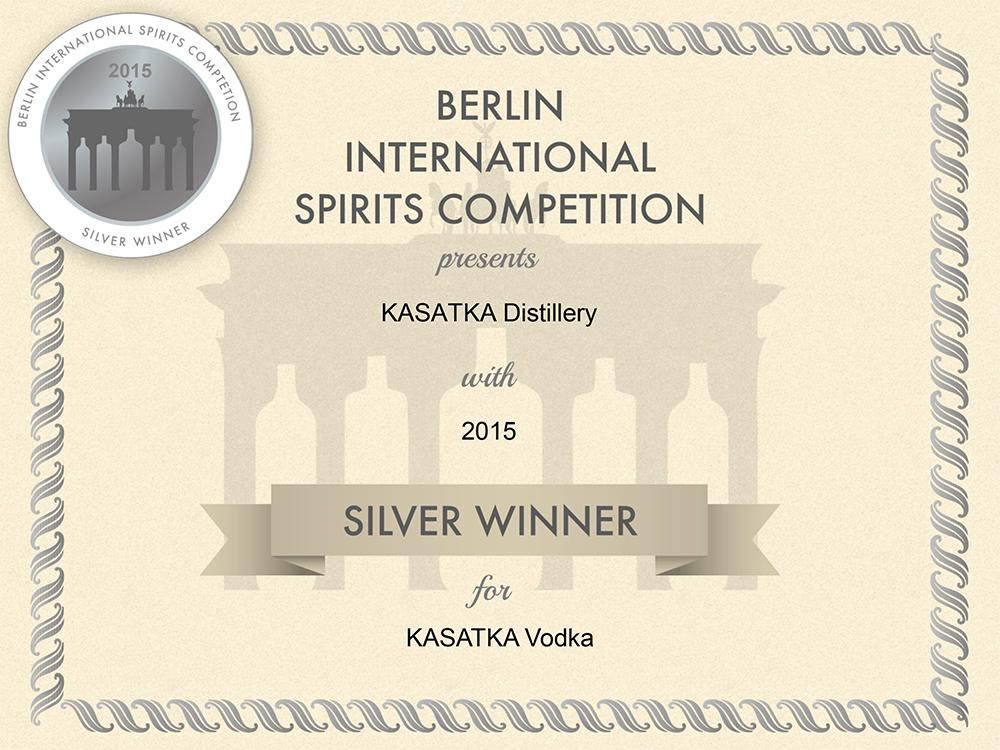 Водка Kasatka - медаль за высокое качество Berlin International Spirits Competition 2015