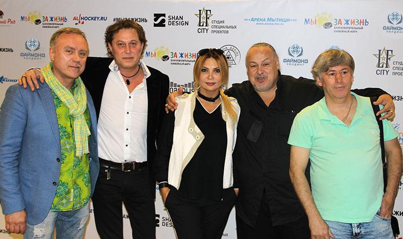 "From left to right: musician Igor Kezlya, singer Slava Martov, lead singer of the band ""City 312"" Aya, singer Alexander Savin."