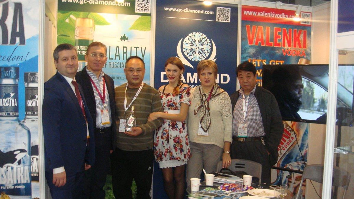 "Балагов Заур и Мишуров Андрей (Холдинг ""Даймонд"") на международной выставке PROWINE CHINA 2014"