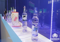 Manufacturers stand t the Prodekspo Exhibition, vodka VALENKI, KASATKA, Russian forests