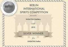 Водка KASATKA - серебряная медаль за безупречное качество Berlin International Spirits Competition 2015
