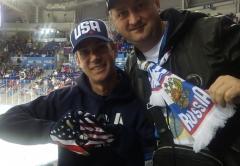Олимпиада в Сочи 2014. Хоккей. Россия-США. болельщики двух стран.