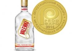 Золотая медаль Продэкспо 2014 за превосходное качество водки VALENKI