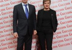 Заур Балагов и Ирина Лычковская (ГК Даймонд) на Юбилейном вечере Издательского дома Собесденик