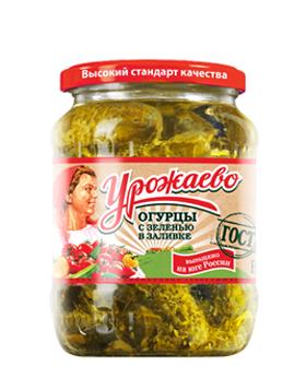 Огурцы с зеленью в заливке Урожаево